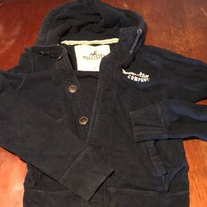 Men's hollister hoodie navy large button front
